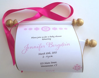 Fairytale baby shower invitation, storybook princess baby shower scroll, pink and gold, set of 10