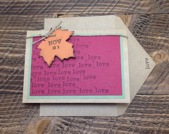 Handmade Fall Rustic Love Save the Date, Custom Colors