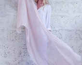 VALENTINES SALE Extra Long Scarf, Light Peach Cotton Scarf, Semi Sheer Wrap Scarf Spring Summer Scarf, Perfect Gift By Hanamer, HSC00049