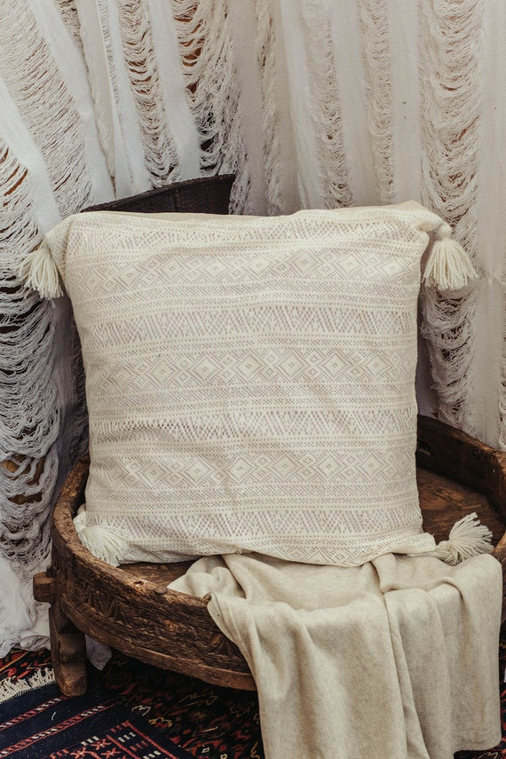 Large Square Decorative Pillow Covers : Square Floor Cushion Cover With Tassels Big Pillow Cover