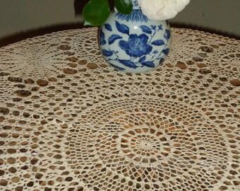 Vintage,  Crochet Lace Ecru, 58 inch,  Round Tablecloth Handmade
