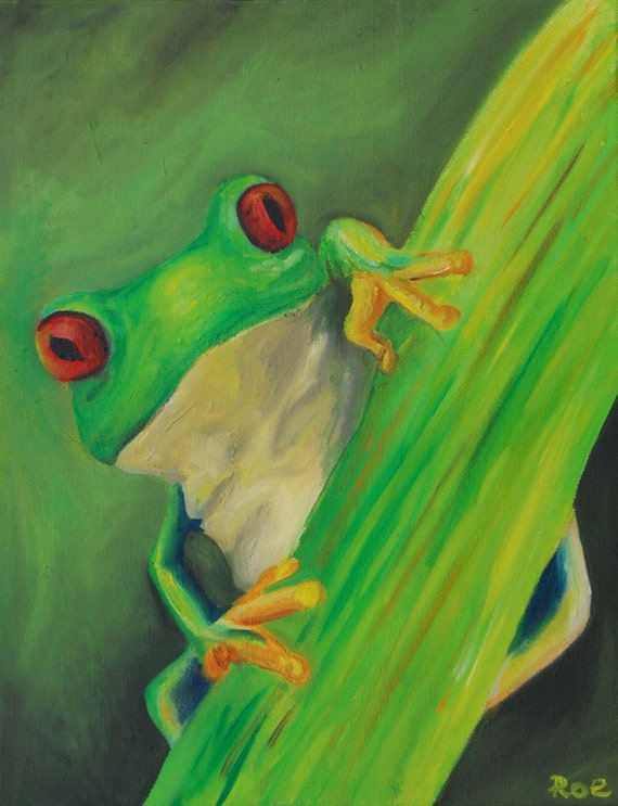Tropical Frog Oil Painting Bright Amphibian reptile home