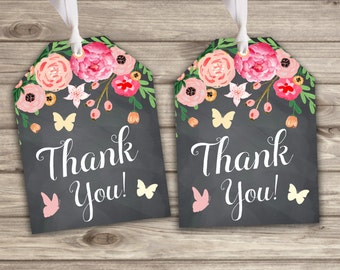 Gift Tags Chalkboard Butterfly Floral Favor Thank You Tags TT434