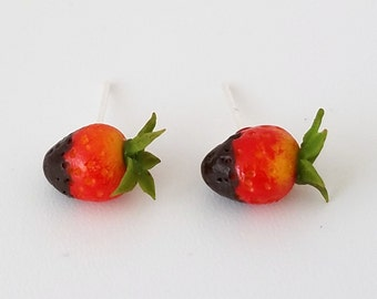 Chocolate Dipped Strawberry Earrings, Miniature food jewelry,  polymer clay earrings,  silver plated, Kawaii, accessories,  fruit earrings