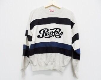 Vintage Pepsi Cola Sweater sweatie Big Logo Medium Size