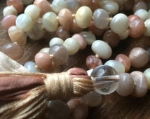 moonstone nugget mala, quartz guru, recycled saree and cotton tassel, hand knotted, prayer beads, neutral colors, yoga beads, buddha, boho