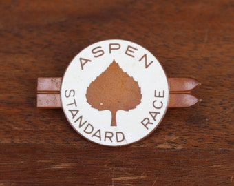 Vintage Enamel Aspen Standard Race Competitor Ski Pin