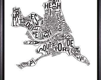 Elmira New York Neighborhood Typography Print Black White