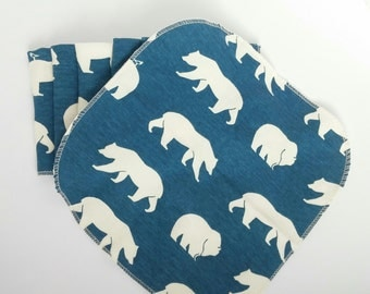 Organic baby wash cloths - set of 6 - 8x8 inches - blue with off-white bears - knit fabric baby wipes - baby cloths - dear leora designs