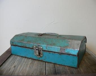 Steel ToolBox, Vintage 1960s Era, Small Blue-Teal Rustic Tool Box, Tackle Box, Rustic Industrial Decorative Storage, Useable Tool Box