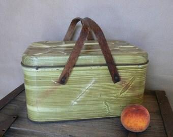 Tin Picnic Basket, Vintage 1960's Faux Wood Painted Tin Picnic Basket with Bent Wood Handles, Rustic Decorative Kitchen Storage Decor