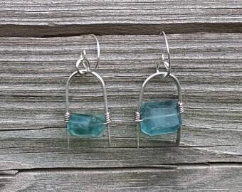 Indicolite Blue Fluorite Sterling Silver Earrings