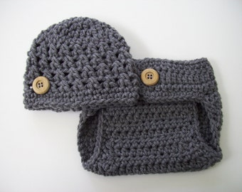 Hat and Diaper Cover, Baby Boy Outfit, Coming Home Outfit, Baby Shower Gift, Newborn Photo Prop, Baby Boy, Baby Hat, Crochet Baby Outfit