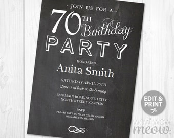 70th Birthday Invitation Party Invite Elegant INSTANT DOWNLOAD Chalk SEVENTY Mens Womens Edit 70 Edit Digital Editable Printable Personalize