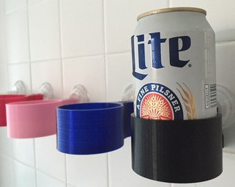Shower beer beverage holder! Pick you color. 3d printed by SOLIDink3d Suction cups to cars, boat, tractor, glass etc.