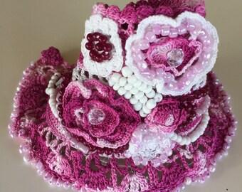 Handmade Crochet Bracelet, Beaded Cuff Bracelet, Pink Bracelet, Crochet Jewelry, Crocheted Flowers, Crochet Lace