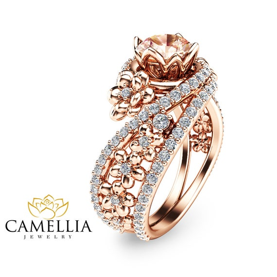 14k gold morganite engagement ring unique by