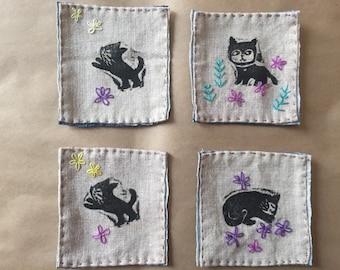 Fabric coasters / block printed coaster set of four