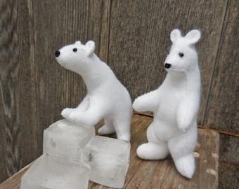 Stuffed polar bear, white bear, wool felt polar bear, realistic bear