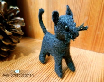 Small stuffed cat, handmade black felt cat, soft toy, stuffed felt animal