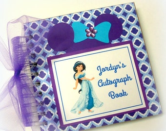 PERSONALIZED Disney autograph book photo book Jasmine use it as a scrapbook or travel journal too 258