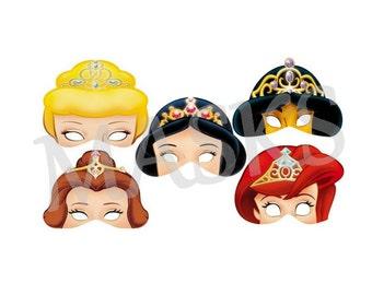 MASKS / masks to print DIY Birthday party Printable birthday Disney Princesses.. .digital printable digital