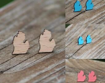 Michigan Earrings | Michigan Jewelry | Michigan Stud Earrings | Wood Michigan Earrings | Hand Painted Earrings | Michigan State Earrings