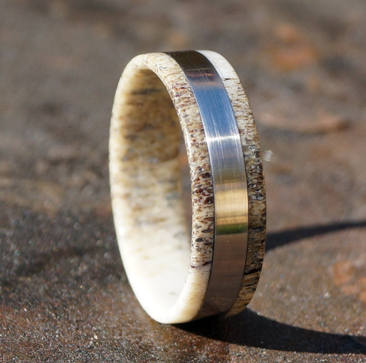 deer antler ring stainless steel ring wedding ring - Deer Antler Wedding Rings