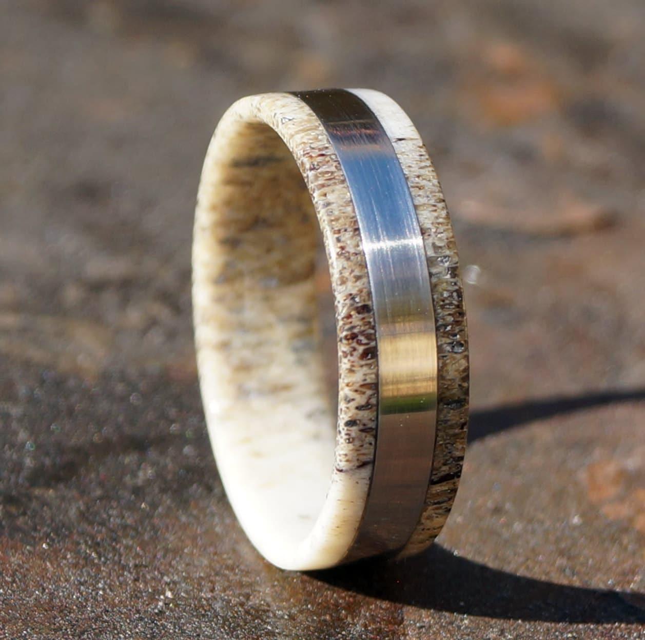 deer antler ring stainless steel ring deer wedding bands zoom