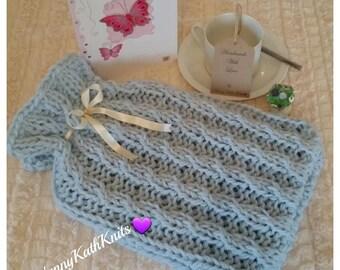 Hot Water Bottle Cover Handmade Knitted Duck Egg Blue