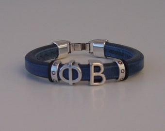 Phi Beta Greek Sliding Letters Leather Handmade Mens Bracelet Silver Tone Clasp Initials Alphabet and 1 extra Letter Iota Sigma