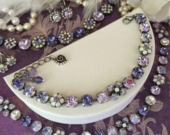 YVETTE Swarovski Crystal Bracelet **French Countryside** Violets, Lavender, Tanzanite, Floral Embellishments, 8mm Beauty