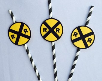 Railroad crossing 3D signs for straws (12 ct)