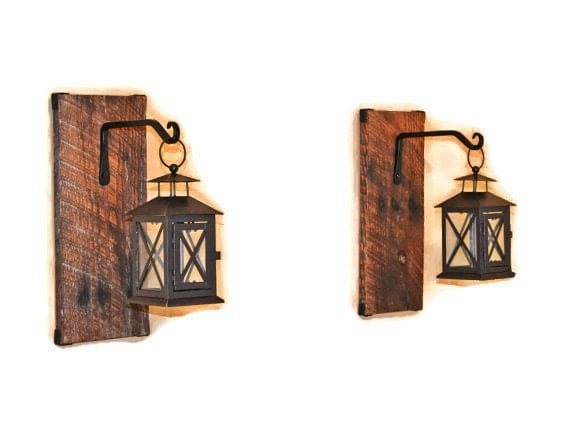 Wall Candle Lanterns Indoor : Reclaimed Wood Hanging Candle Lantern Pair by EllaMurphyDesigns