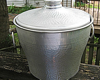 Hammered Aluminum Ice Bucket, Two Handles And Lid, Nasco, Italy, Unpolished, Vintage 1950's, Collectible Aluminum