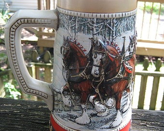 Budweiser Beer Stein, 1988 Holiday Stein  Made In Brazil By Ceramarte, Clydesdale Horses, Collector's Series, Handcrafted