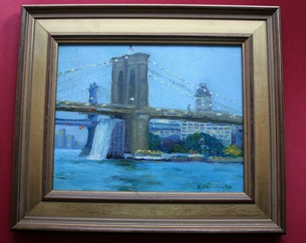 Oil Painting, New York City, Brooklyn Bridge, Waterfalls, Cityscape