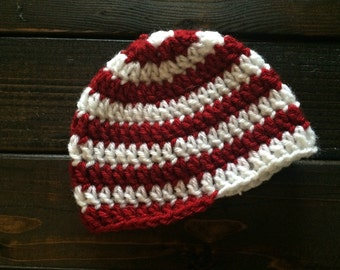 Candy cane hat, Child candy cane hat, Crochet candy cane hat