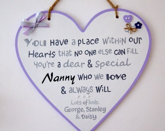 Personalised Mother's Day Gift. Nanny. Mum. Mom. Mummy. Mammy. Grandma. Grandmother. Granny. Nana. Heart Sign Personalised with Names.