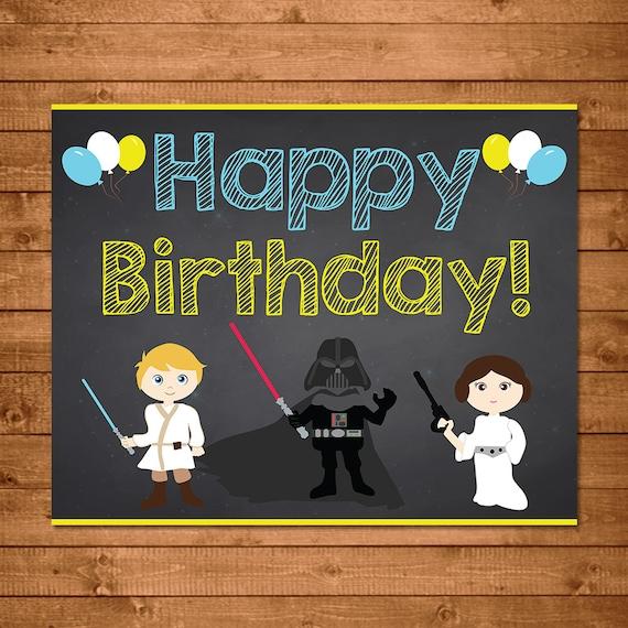 Star Wars Happy Birthday Sign Chalkboard Illustrations Star