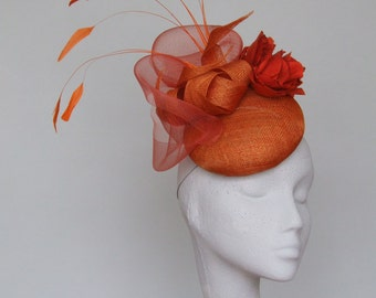 Orange Fascinator Headpiece