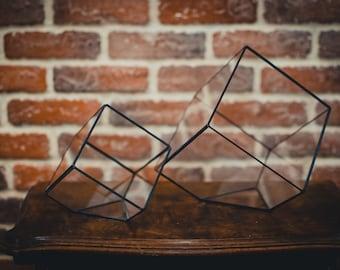 Set of 2 Terrariums Cube Geometric Succulent Vases Stained glass terrarium