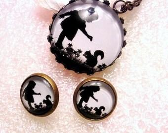 Jewellery set necklace earrings cabochon nostalgia