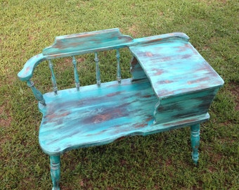Weathered Turquoise Gossip Bench