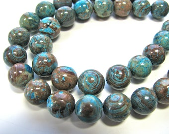 Calsilica beads, half strand, 20 beads, 10mm, blue and brown - 264