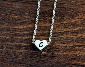 Dainty Necklace, Handstamped Initial Necklace, Silver Heart Necklace, Personalized Bridesmaids Necklace, Letter Necklace, Letter Jewelry