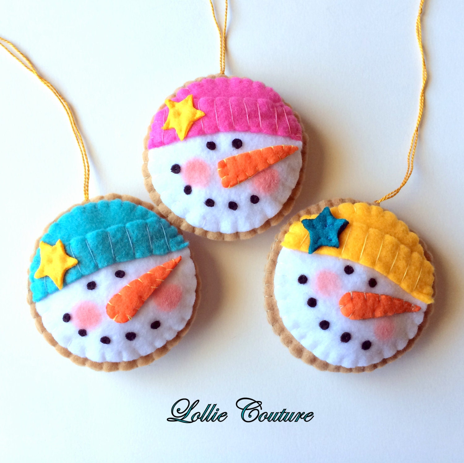 Felt christmas ornaments cookie felt by modernstyleholiday for Holiday christmas ornaments
