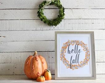 Hello Fall Sign, Rustic Fall Decor, Farmhouse Fall Decor, Fall Decorations, Fall Decor Sign, Fall Primitive Decor, Autumn Decorations