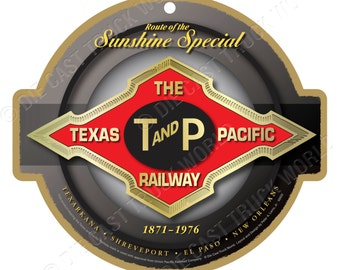 Texas & Pacific Railroad Wood Plaque / Sign