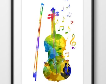 Violin Print No2, Violin Watercolor Poster, Music Art Print, Music Wall Art, Music Instrument Poster, Violin Decor, Violin Art (A0237)